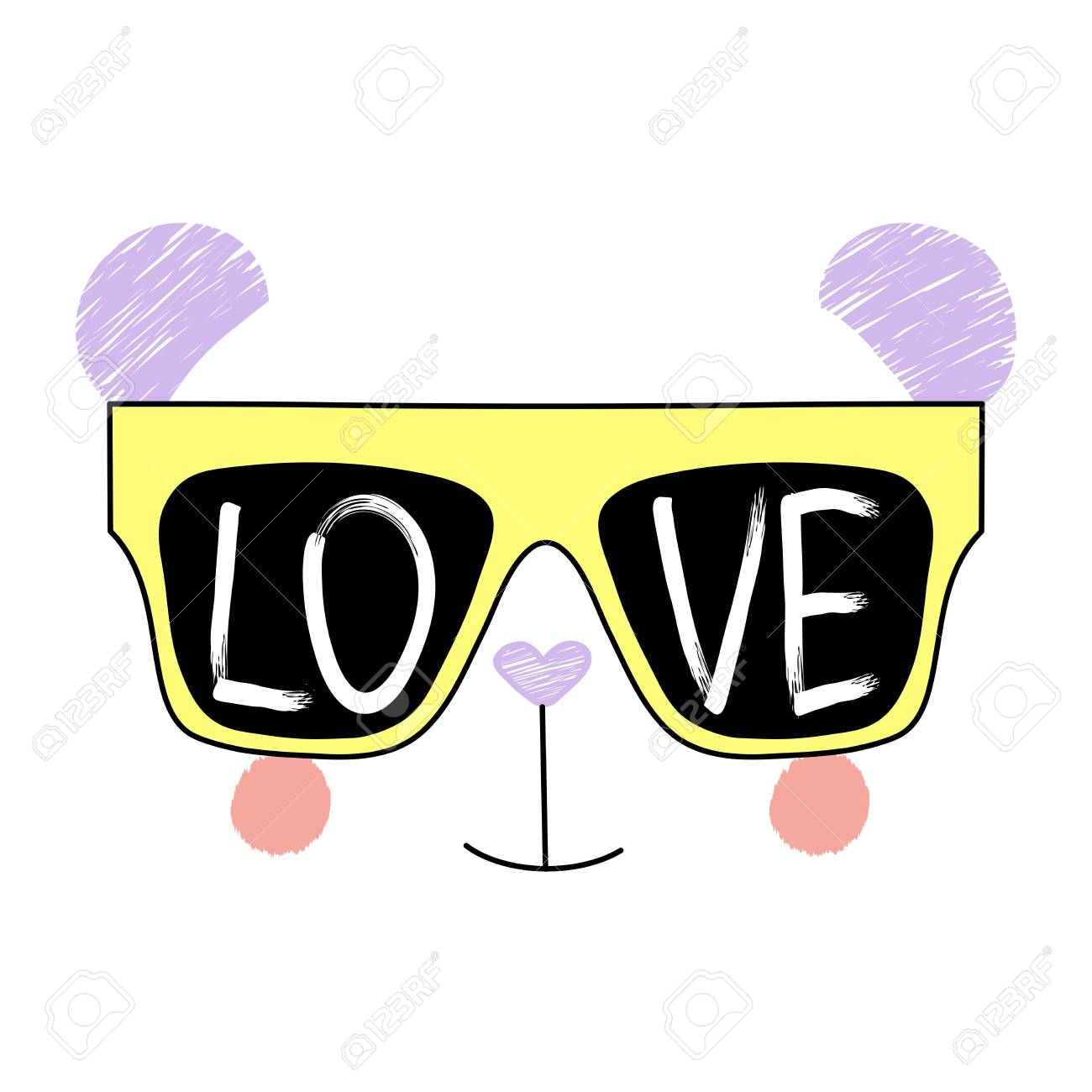 dc99b6f6f86 Hand Drawn Vector Illustration Of A Funny Panda Face In Sunglasses ...