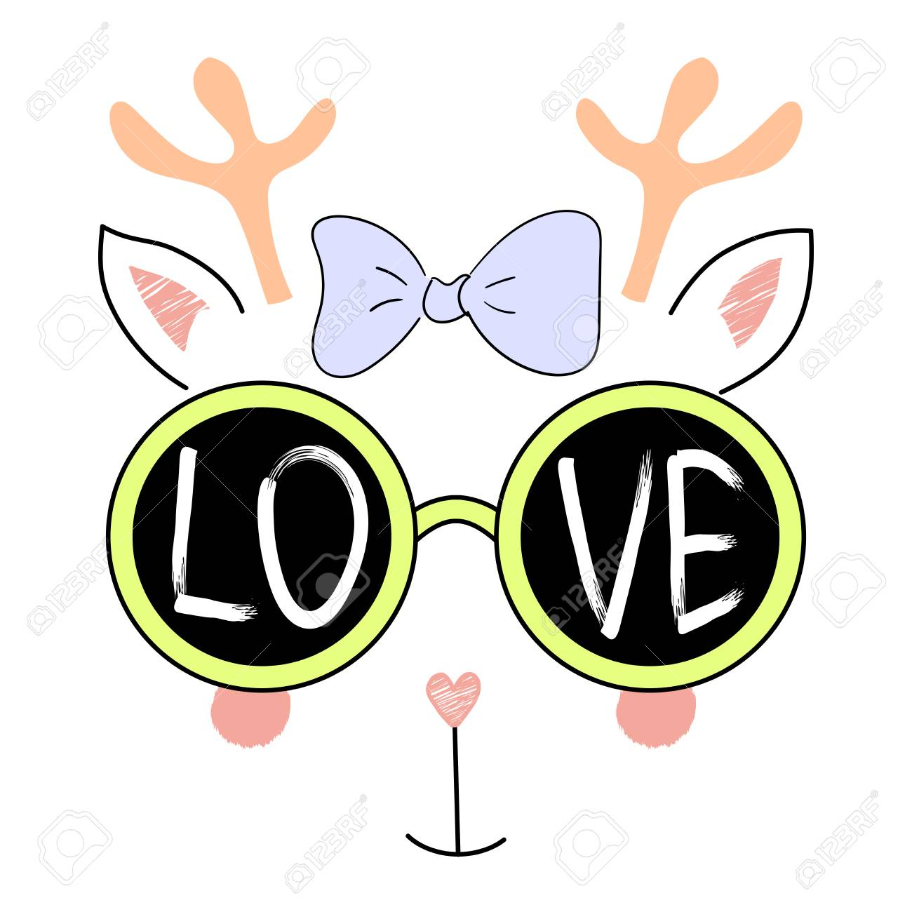 799ada9e593 Hand drawn vector illustration of a funny reindeer face in sunglasses