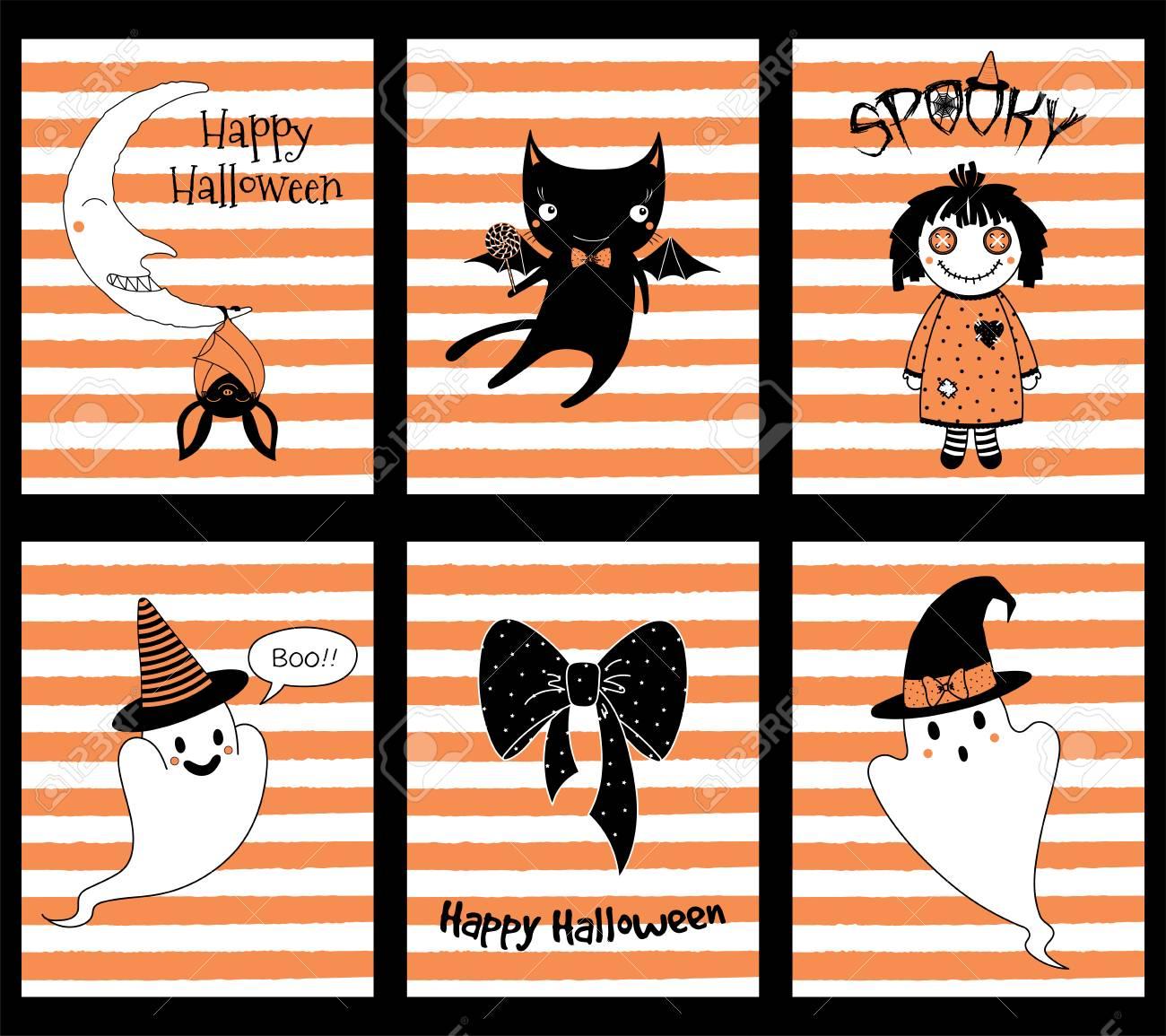 Satz Hand Gezeichnete Schablonen Für Halloween-Grußkarten ...