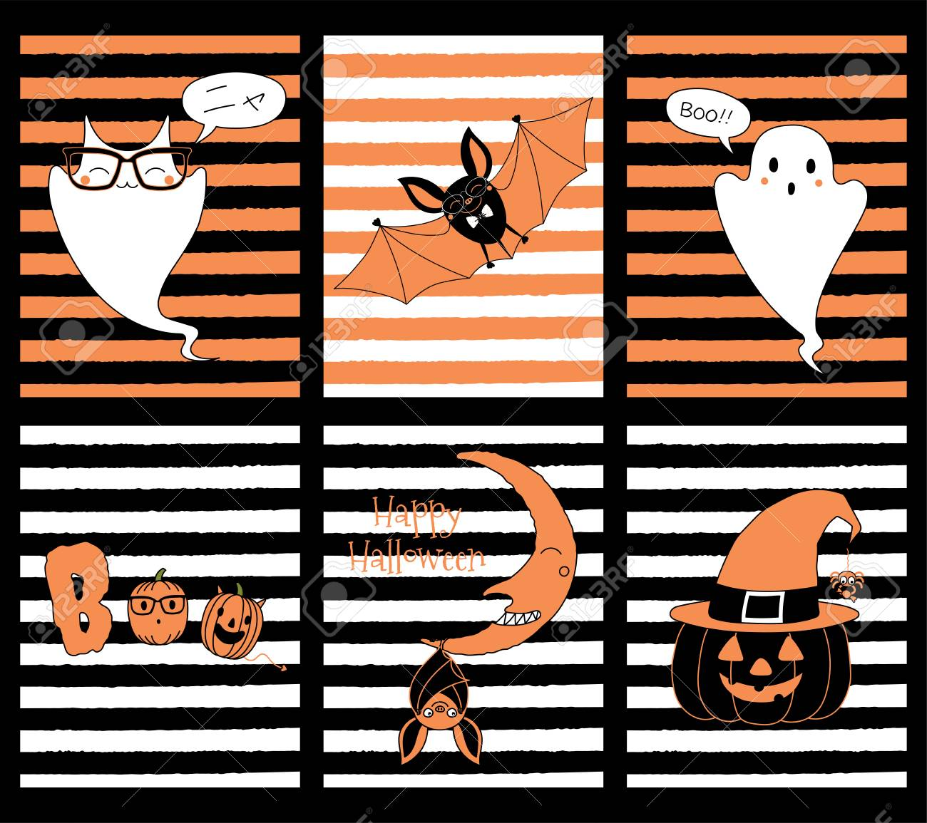 Set Of Hand Drawn Templates For Halloween Greeting Cards