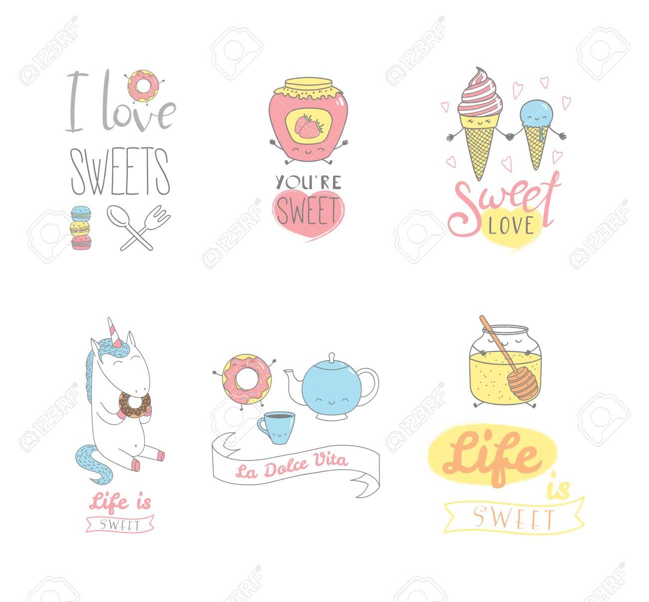 Satz Hand Gezeichnete Süße Lebensmittelgekritzel Mit Kawaii