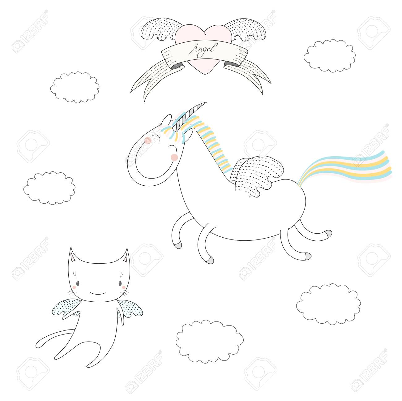hand drawn vector illustration of a cute unicorn with wings and What Cat hand drawn vector illustration of a cute unicorn with wings and angel cat flying among