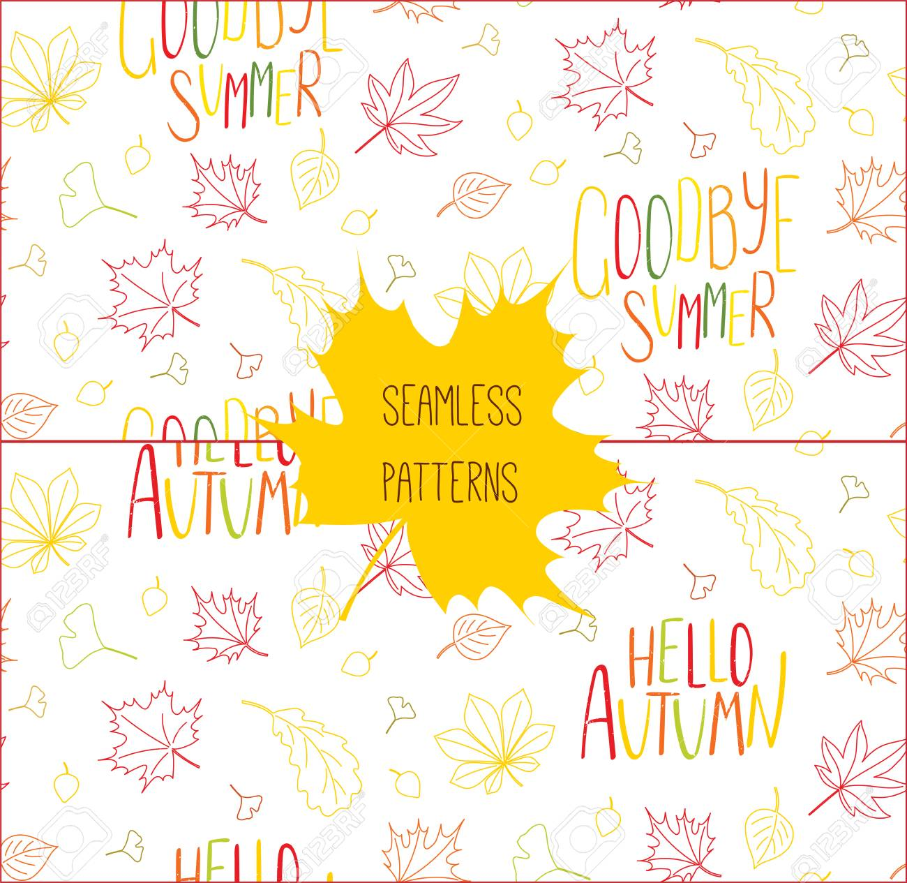 Set of hand drawn seamless vector patterns with autumn leaves..