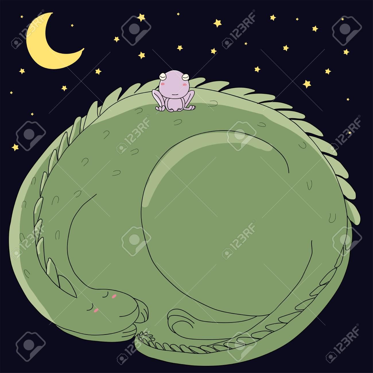 Ilustración De Vector Dibujado A Mano De Lindo Dormir Acurrucado Dragón Y  Rana Con Luna Y Estrellas Sobre Fondo Oscuro. Objetos Aislados Concepto De  Diseño ... dec6313284a65