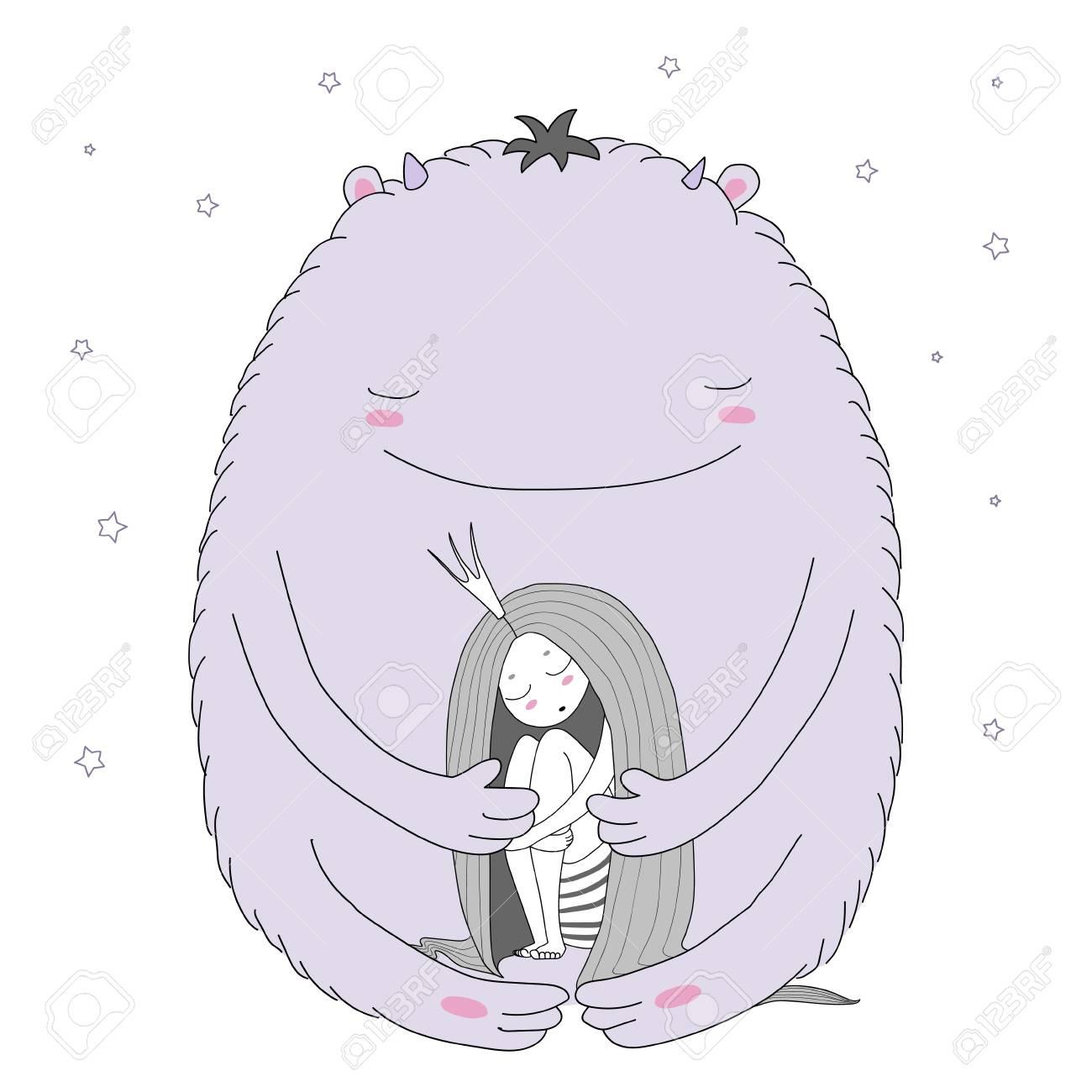Ilustración De Vector Dibujado A Mano De Princesa Durmiente Con Cabello  Largo Y Moster Lindo Entre Las Estrellas. Objetos Aislados Sobre Fondo  Blanco. b7af012e1b017