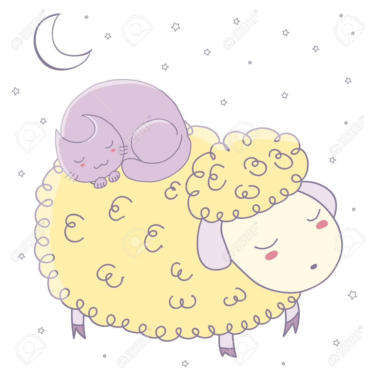 Ilustración De Vector Dibujado A Mano De Ovejas Lindas Durmiendo Y Gato  Acurrucado Con Luna Y Estrellas. Objetos Aislados Sobre Fondo Blanco. 073b9a3cffa70