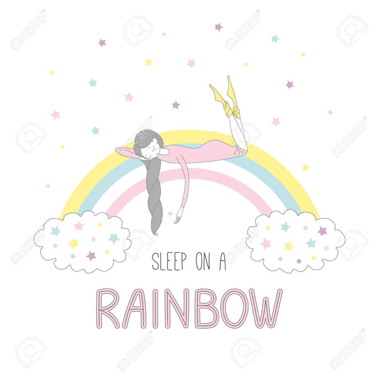 写真素材 , 雲と星と虹虹のテキスト睡眠睡眠編んだ髪のかわいい女の子の手書きベクトル イラスト。白い背景の上の孤立したオブジェクト。