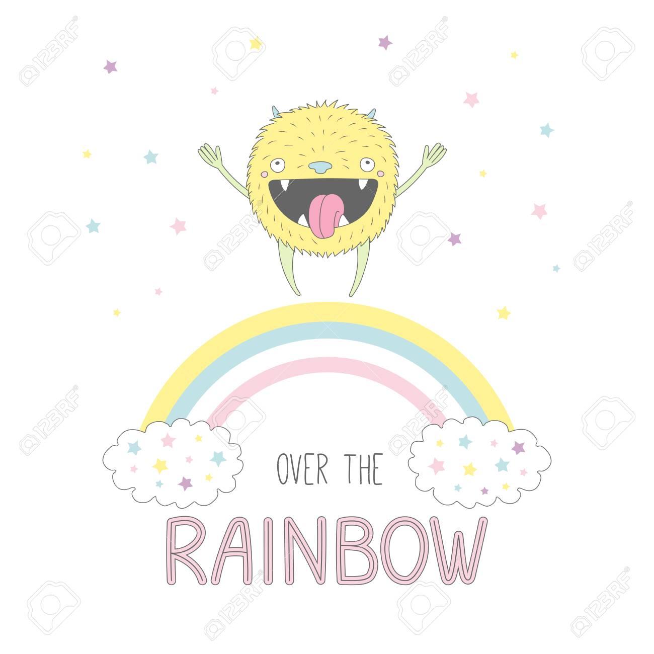 かわいい小さな面白い笑顔モンスター、虹、本文にジャンプのベクトル