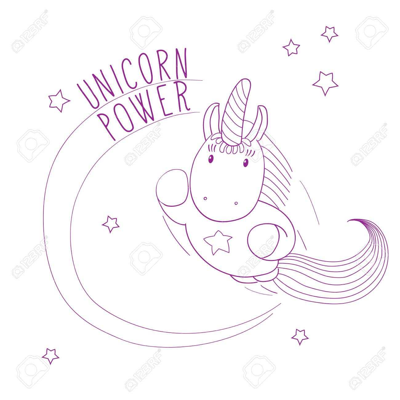 Hand Drawn Vector Illustration Of A Cute Unicorn Flying Among The Stars,  Super Hero Style