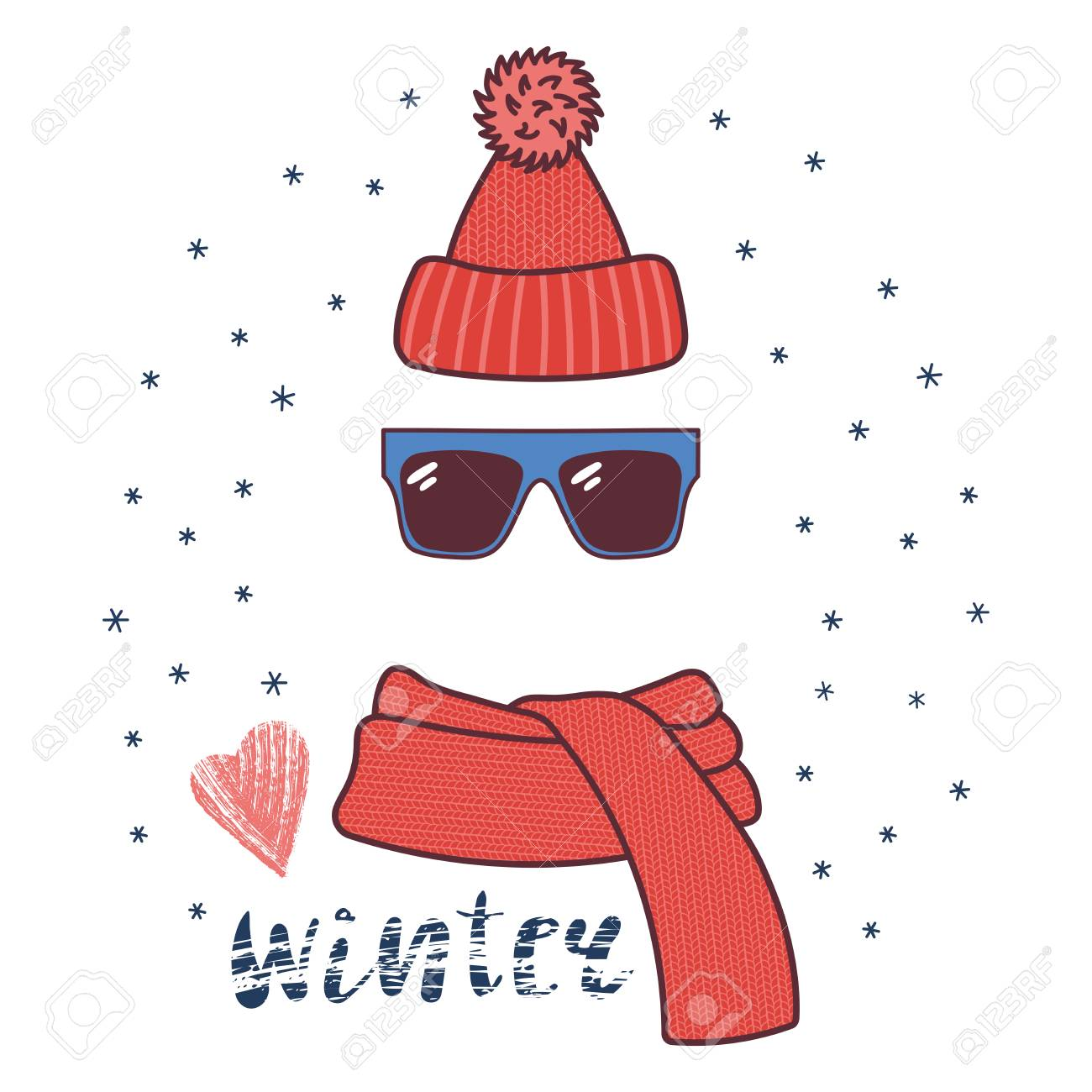 Hand Drawn Vector Illustration Of A Warm Funny Knitted Hat Sunglasses Royalty Free Cliparts Vectors And Stock Illustration Image 88919026