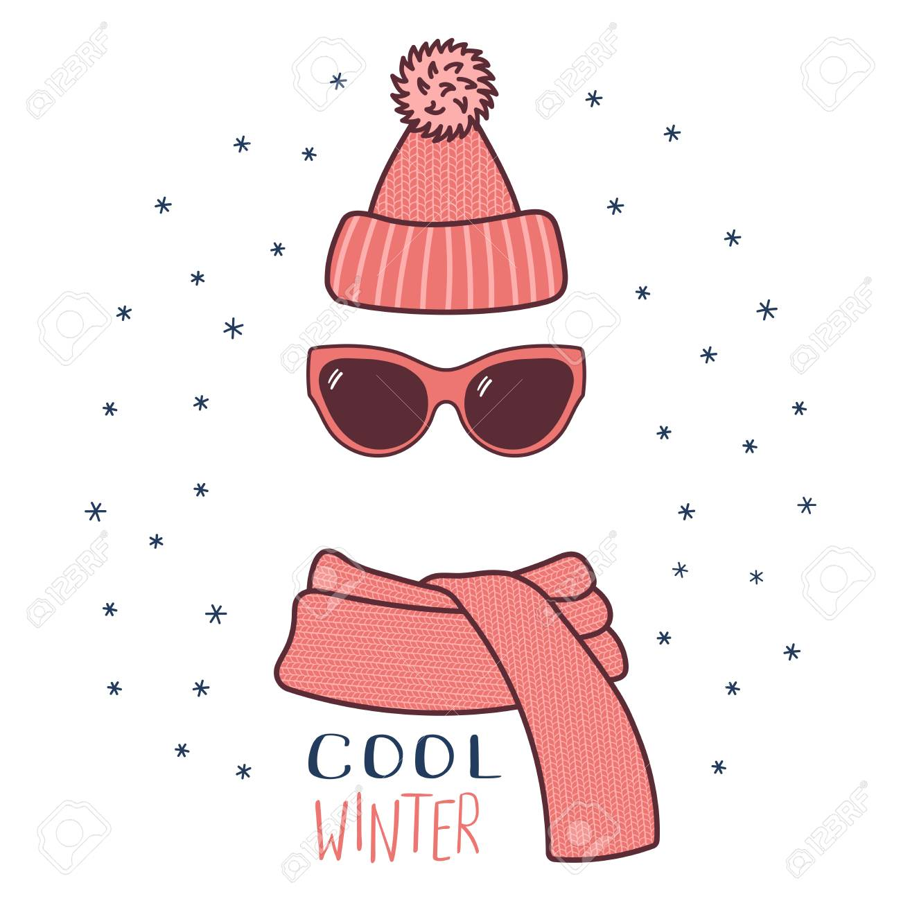 Hand Drawn Vector Illustration Of A Warm Funny Knitted Hat Sunglasses Royalty Free Cliparts Vectors And Stock Illustration Image 89334255