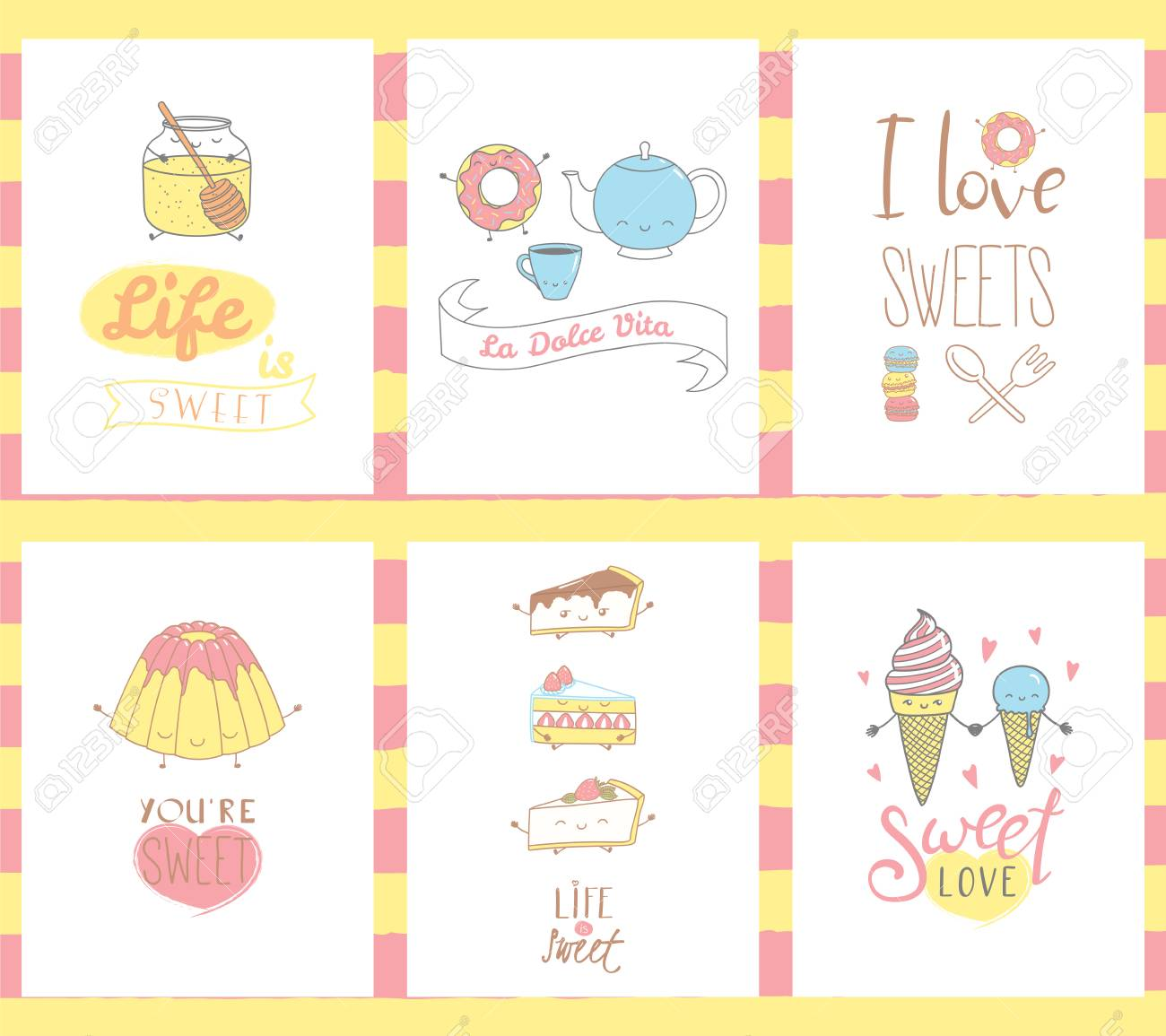 Collection Of Hand Drawn Templates For Greeting Cards With Sweet