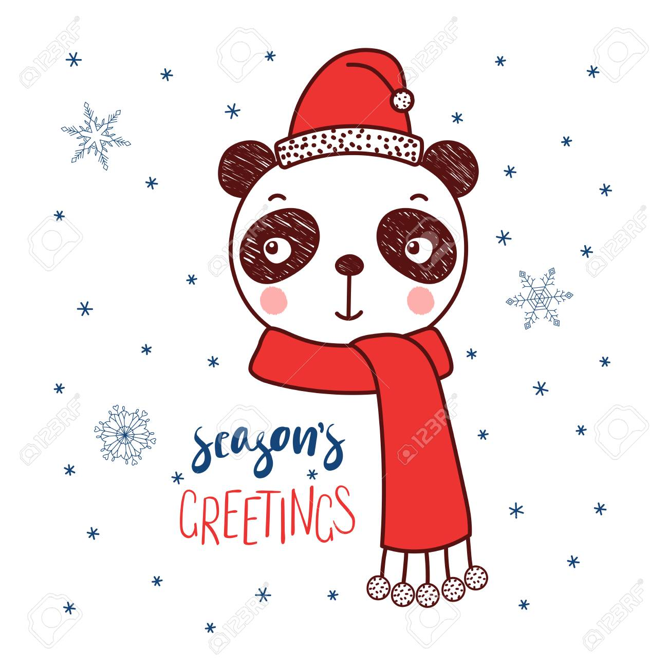 Hand drawn vector portrait of a cute funny panda in a santa hat hand drawn vector portrait of a cute funny panda in a santa hat text seasons m4hsunfo