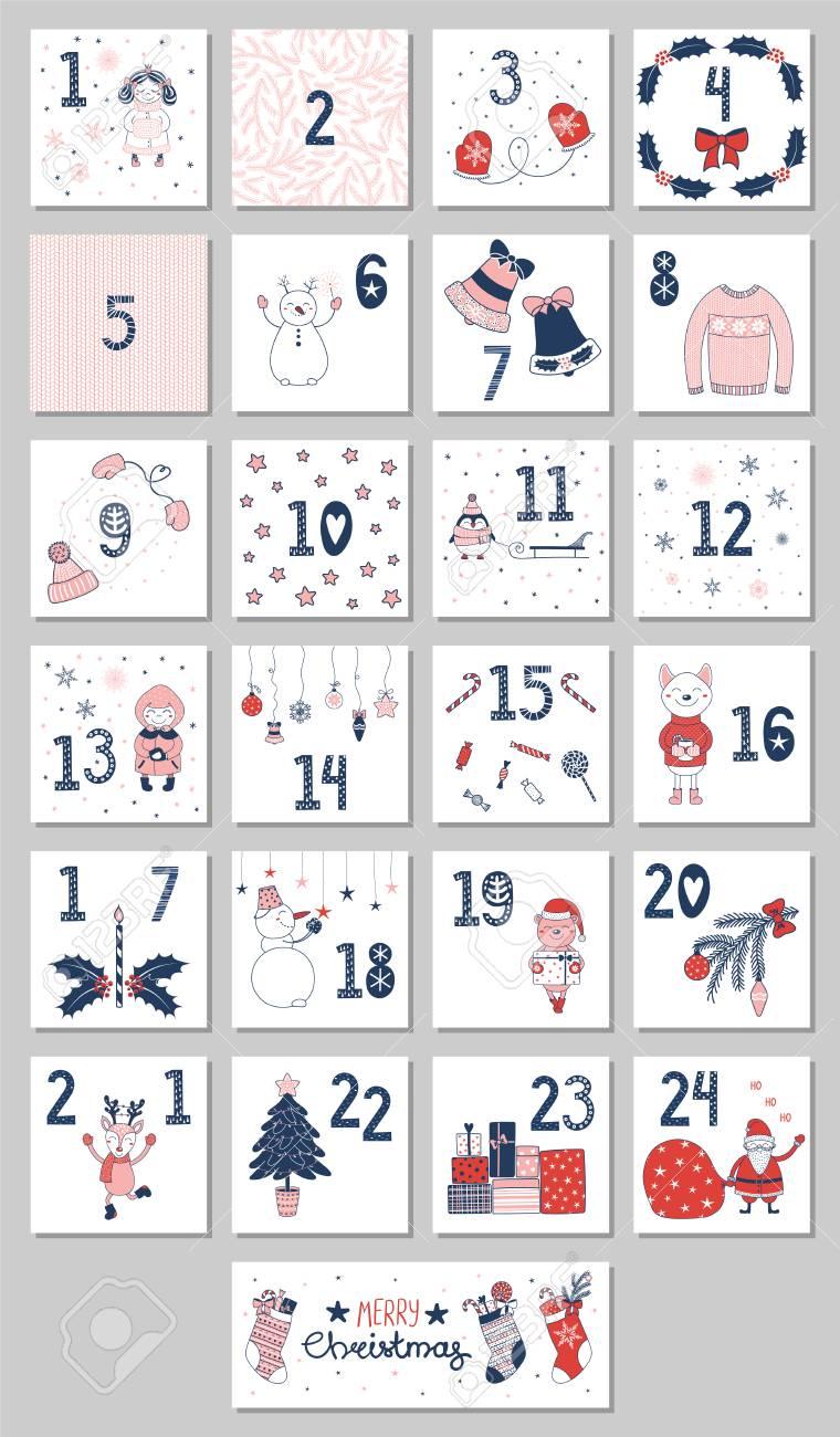 Mao Desenhada Calendario Do Advento Com Personagens De Desenhos