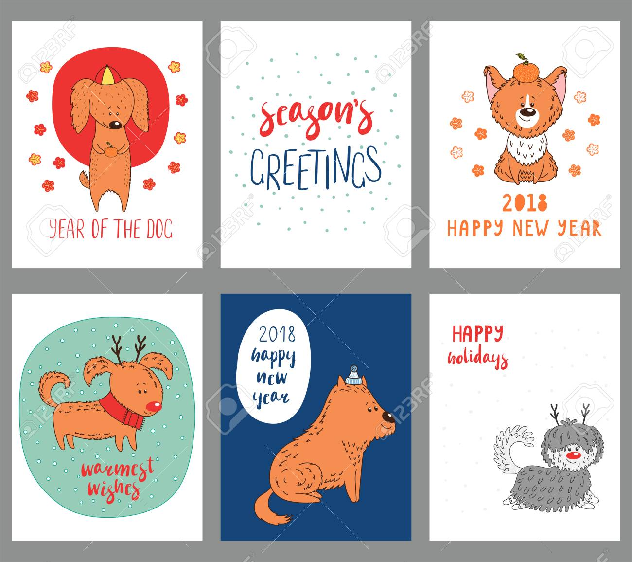 Set of hand drawn winter holidays greeting cards templates with set of hand drawn winter holidays greeting cards templates with cute funny cartoon dogs in hats m4hsunfo