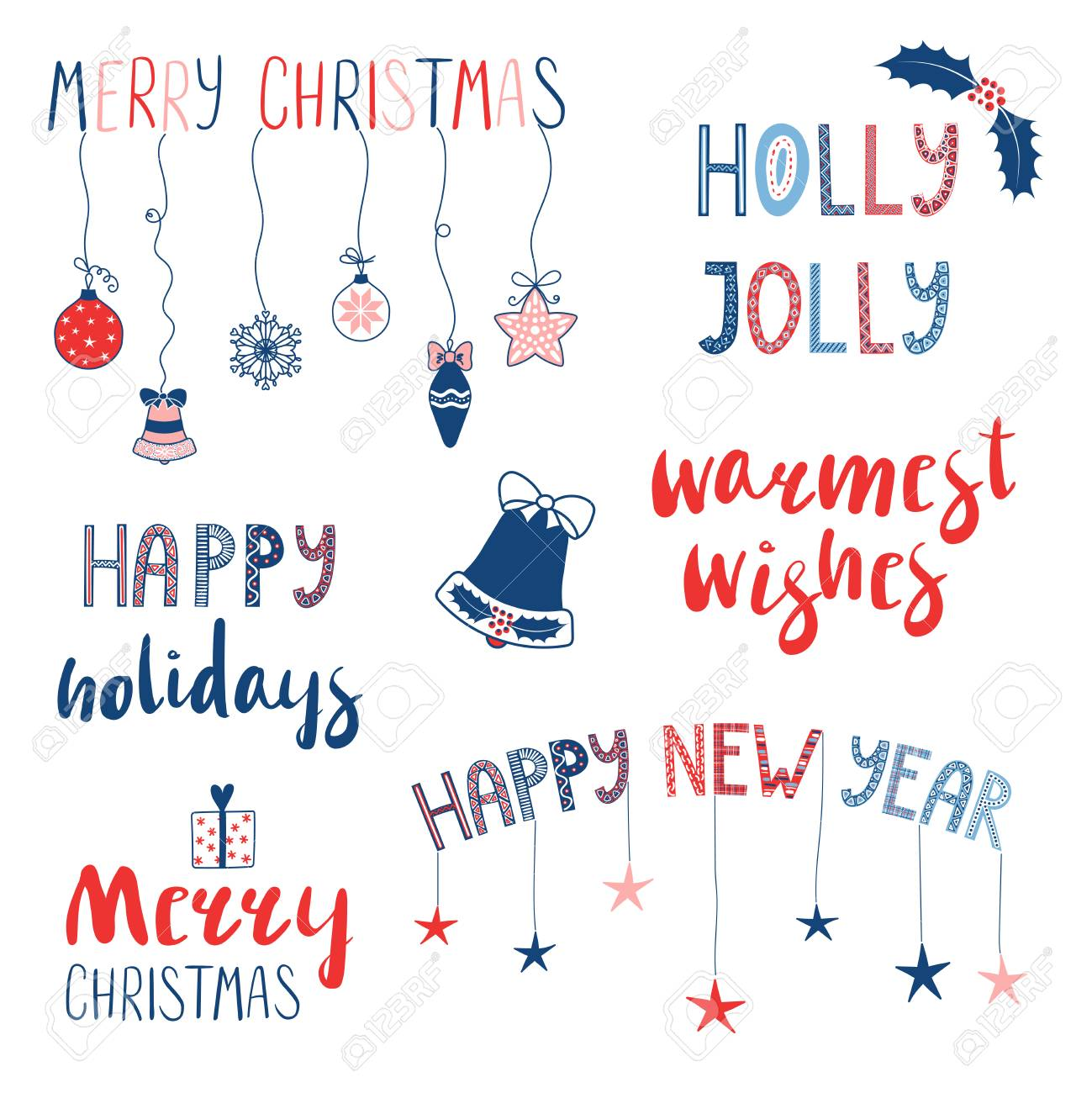 collection of different christmas new year quotes typographic elements with hand drawn decorations