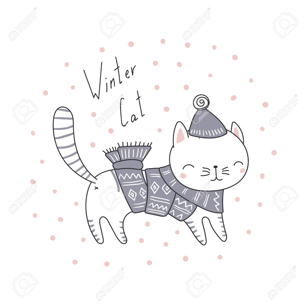 Hand Drawn Christmas Greeting Card With Cute Funny Cartoon Cat Royalty Free Cliparts Vectors And Stock Illustration Image 90963780