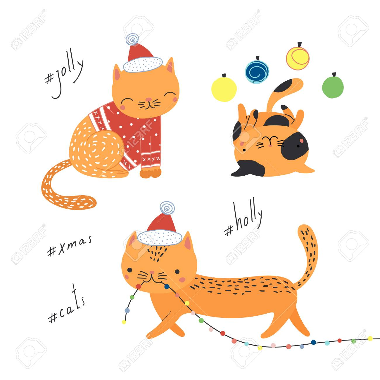 Hand Drawn Greeting Card With Cute Funny Cartoon Cats In Hats