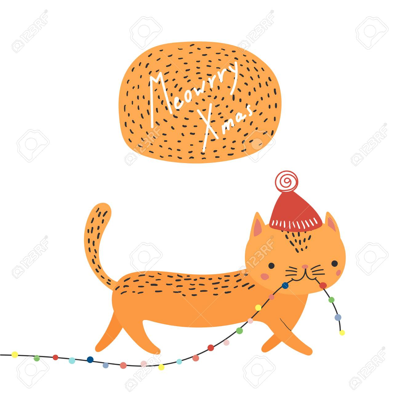 Hand Drawn Card With Cute Funny Cat In A Hat Carrying Christmas