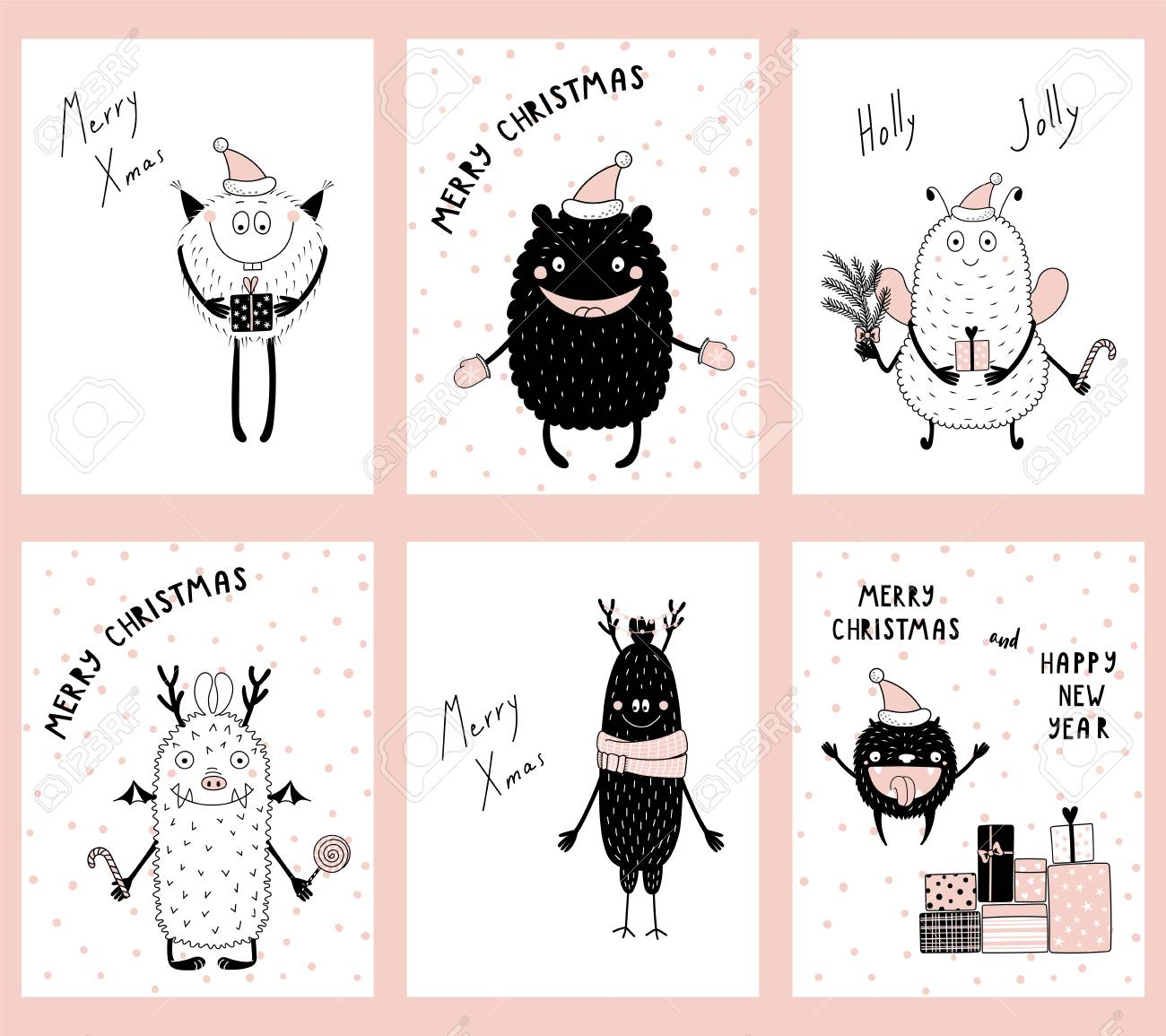 Set Of Hand Drawn Christmas Greeting Cards, Gift Tags Templates ...