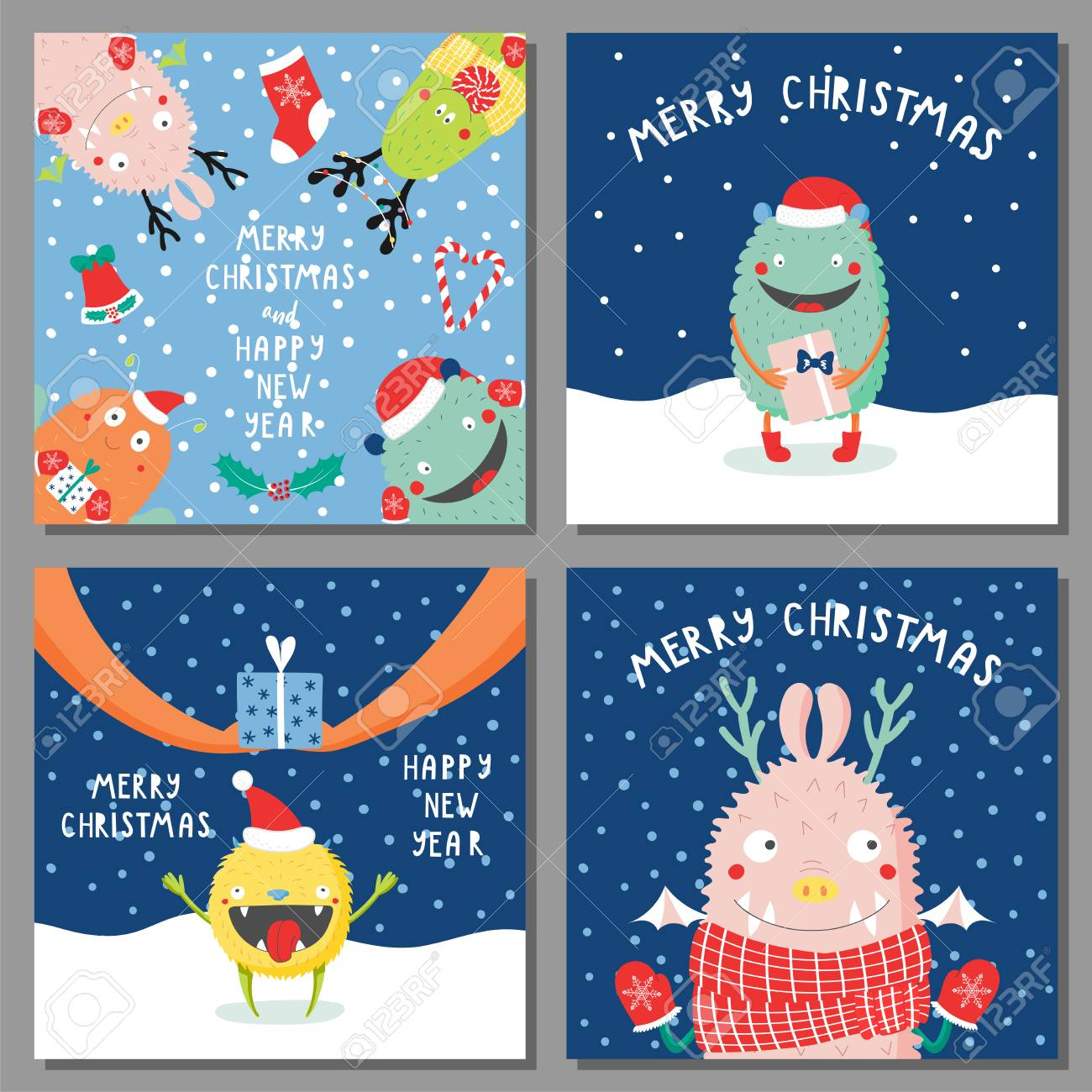 set of hand drawn christmas greeting cards templates with cute