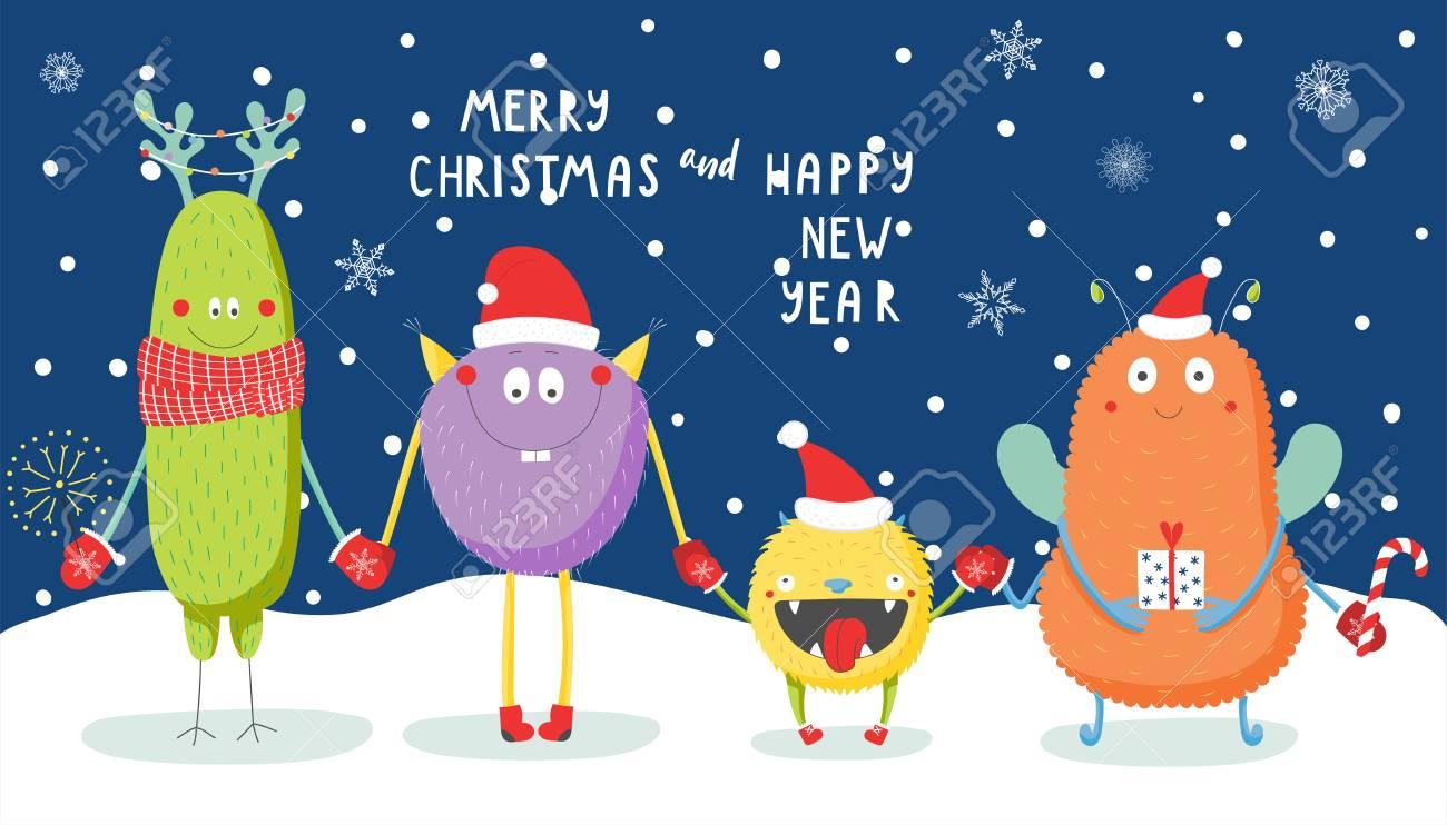 Hand Gezeichnete Weihnachtsgrußkarte Mit Den Netten Lustigen ...