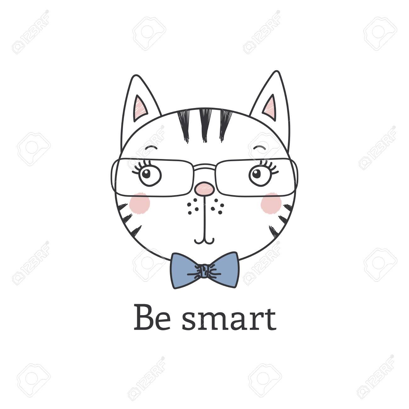 9732b28c719 Hand drawn vector portrait of a cute funny cartoon cat boy in glasses