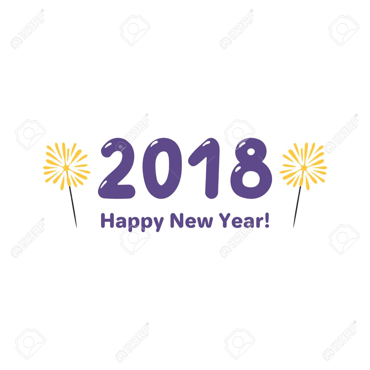 Hand Drawn Happy New Year 2018 Greeting Card Banner Template