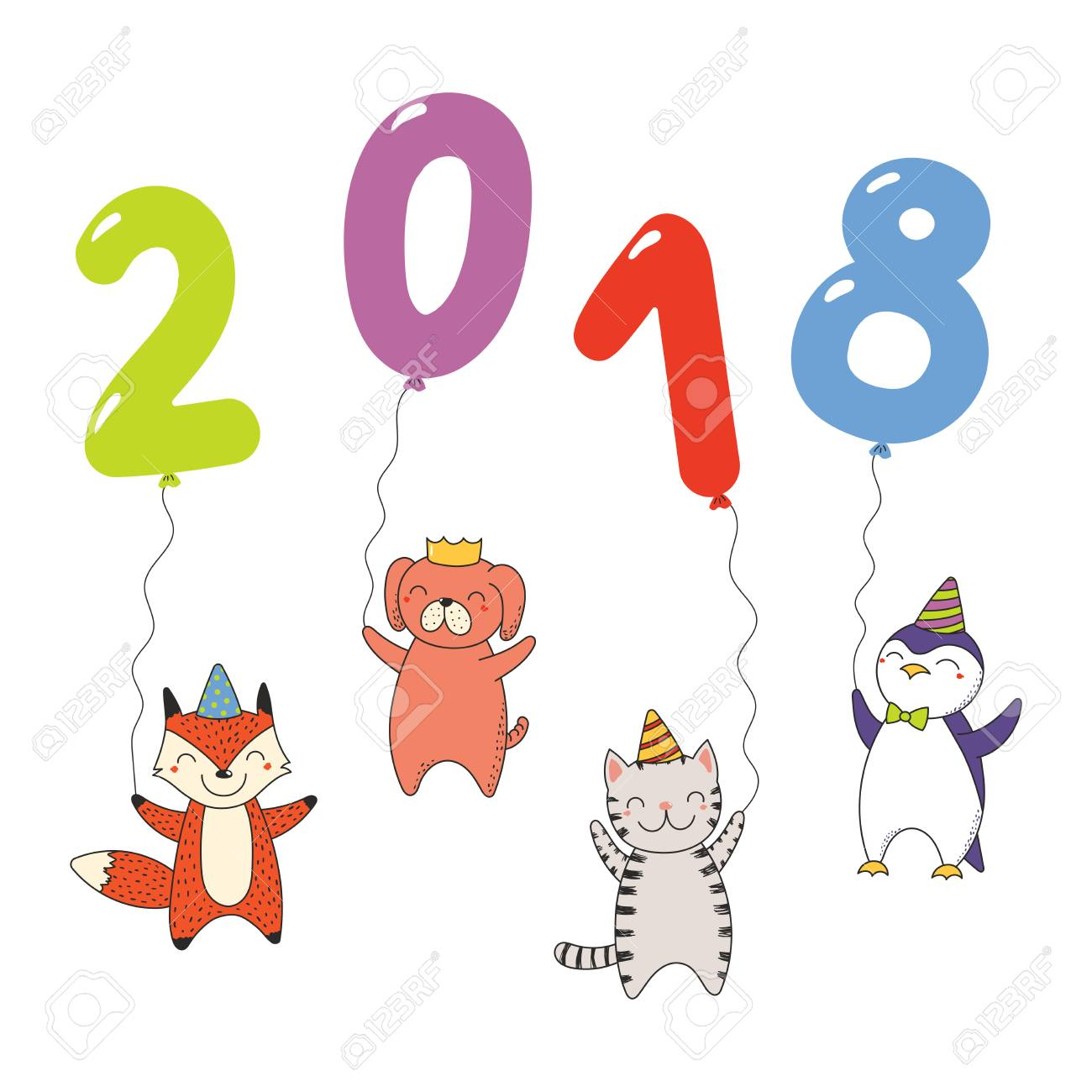 Hand Drawn New Year 2018 Greeting Card, Banner Template With ...
