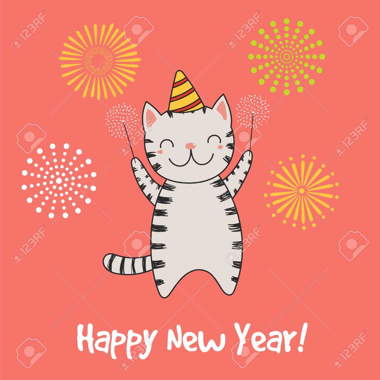 Hand drawn happy new year greeting card with cute funny cartoon hand drawn happy new year greeting card with cute funny cartoon stock vector 91655411 m4hsunfo
