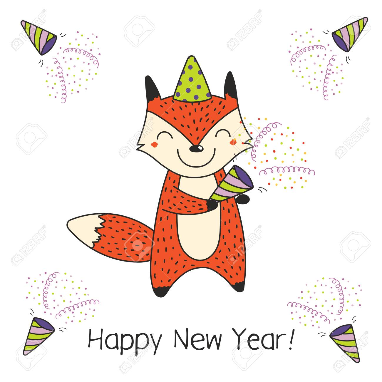 Hand drawn happy new year greeting card with cute funny cartoon hand drawn happy new year greeting card with cute funny cartoon fox with a party popper m4hsunfo
