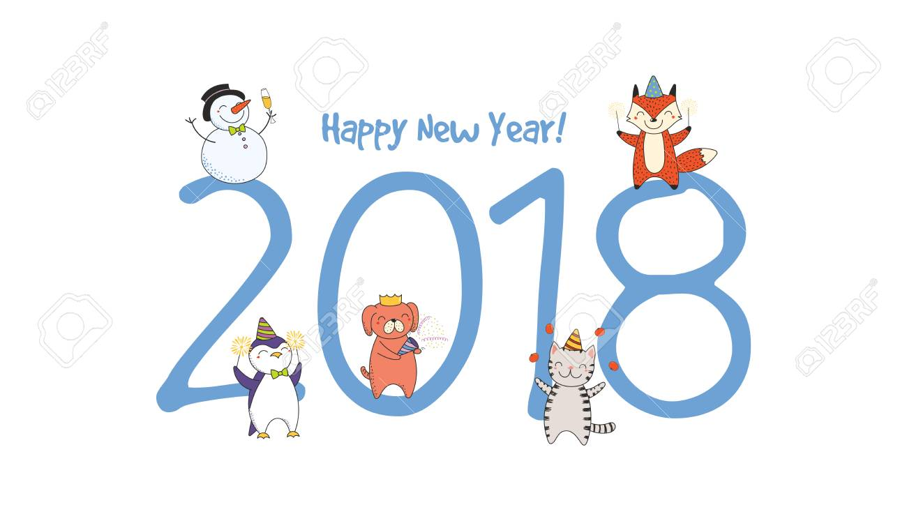 Hand Drawn Happy New Year 2018 Greeting Card, Banner Template ...