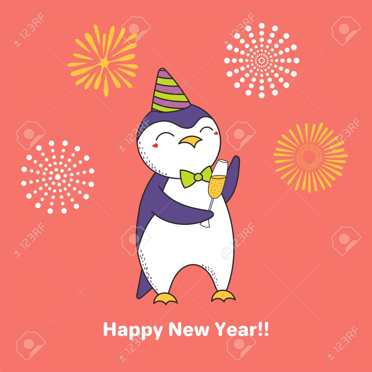 Hand drawn happy new year greeting card with cute funny cartoon hand drawn happy new year greeting card with cute funny cartoon penguin and a glass of m4hsunfo