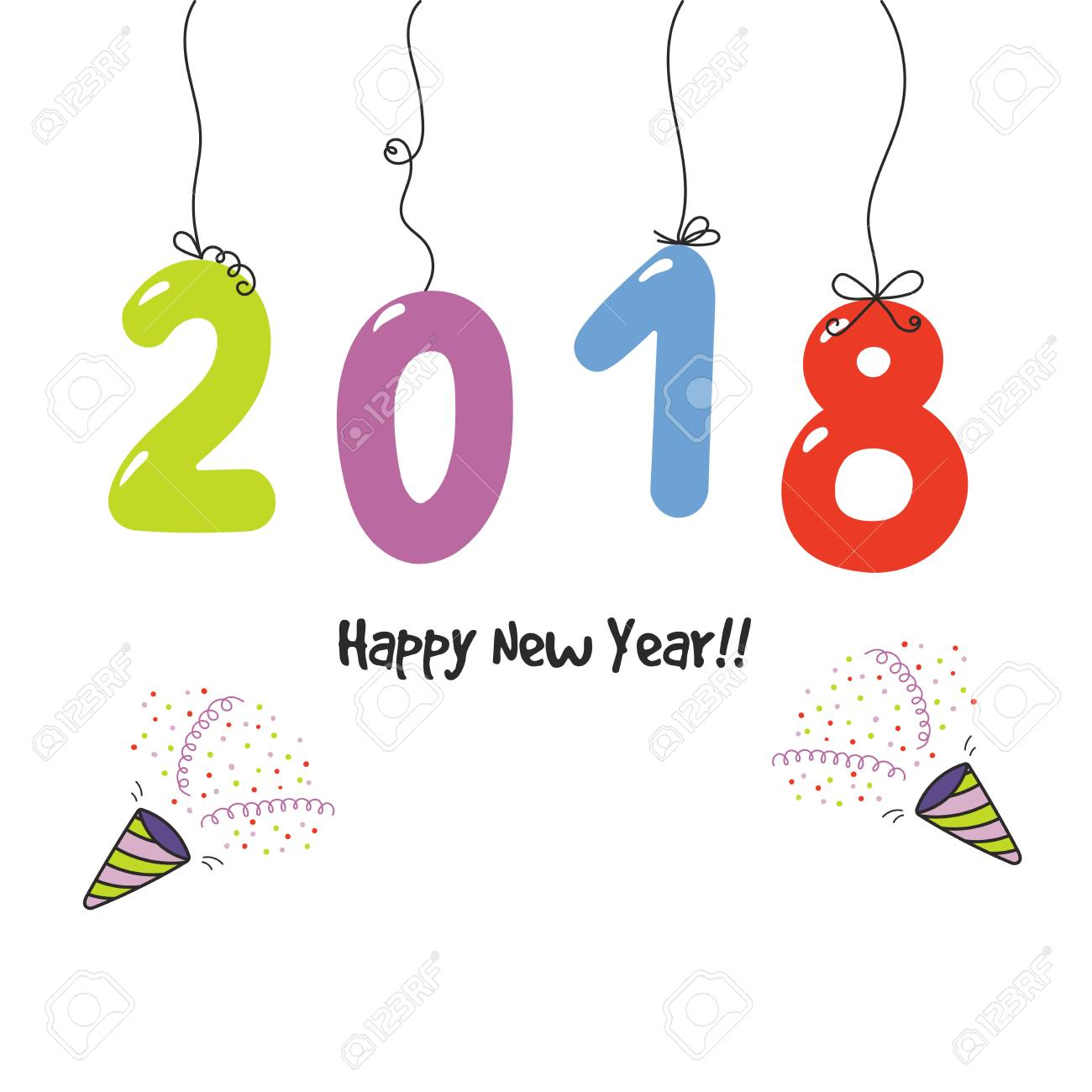 Mano Dibujada Tarjeta De Felicitación De Feliz Año Nuevo 2018 ...