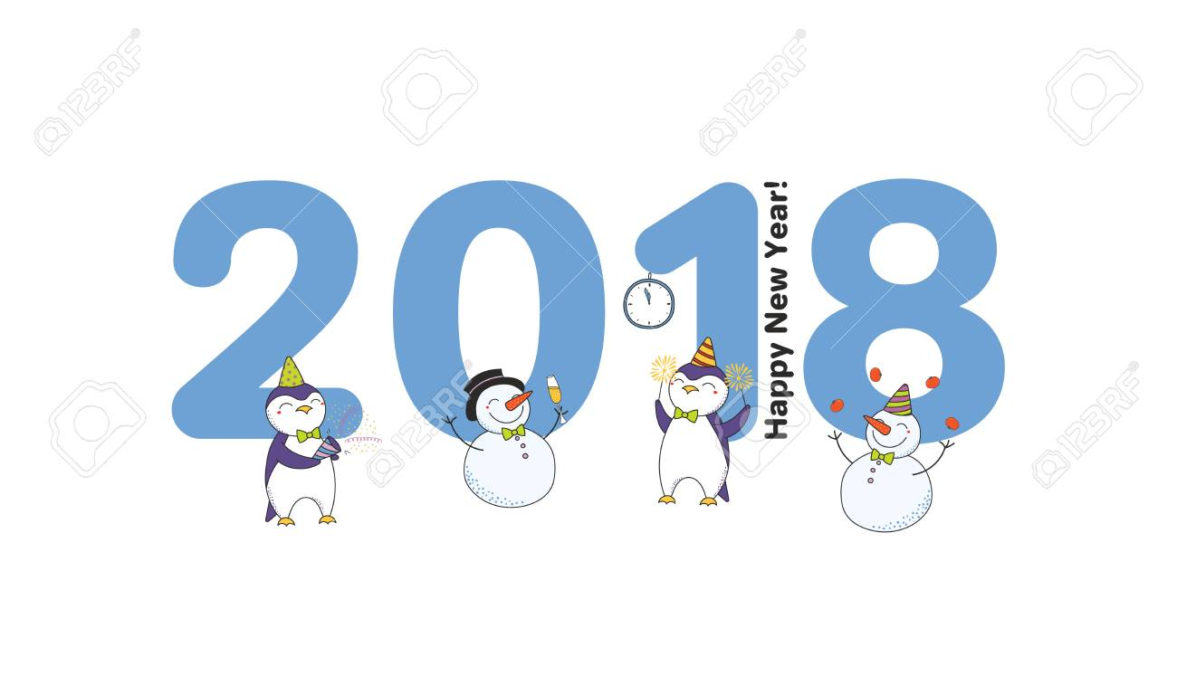 Hand drawn Happy New Year 2018 greeting card, banner template