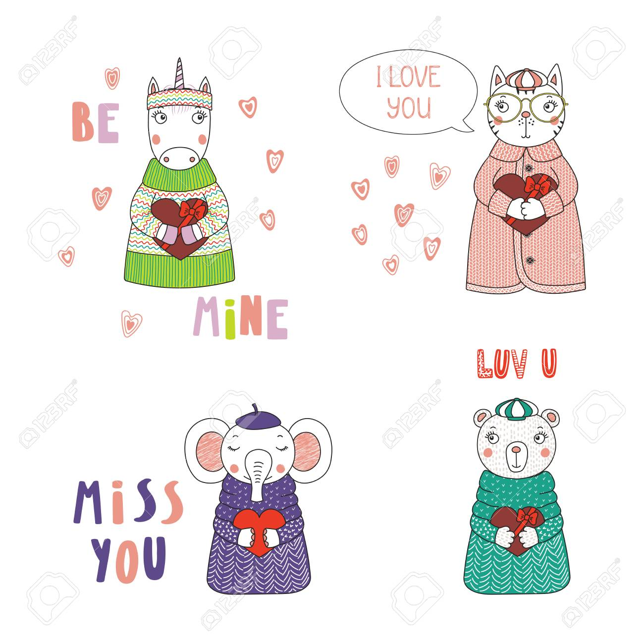 Set of hand drawn cute funny cartoon animals in sweaters, hats,..