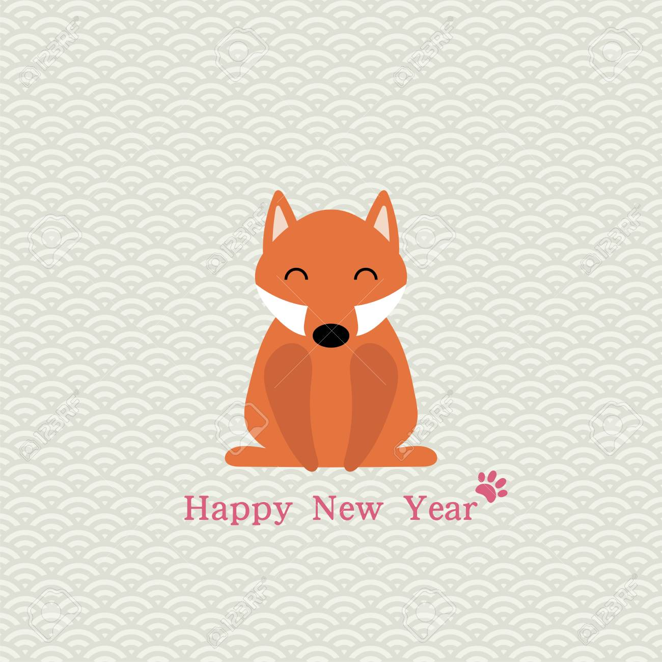 2018 Chinese New Year Minimalistic Greeting Card, Banner With Cute ...
