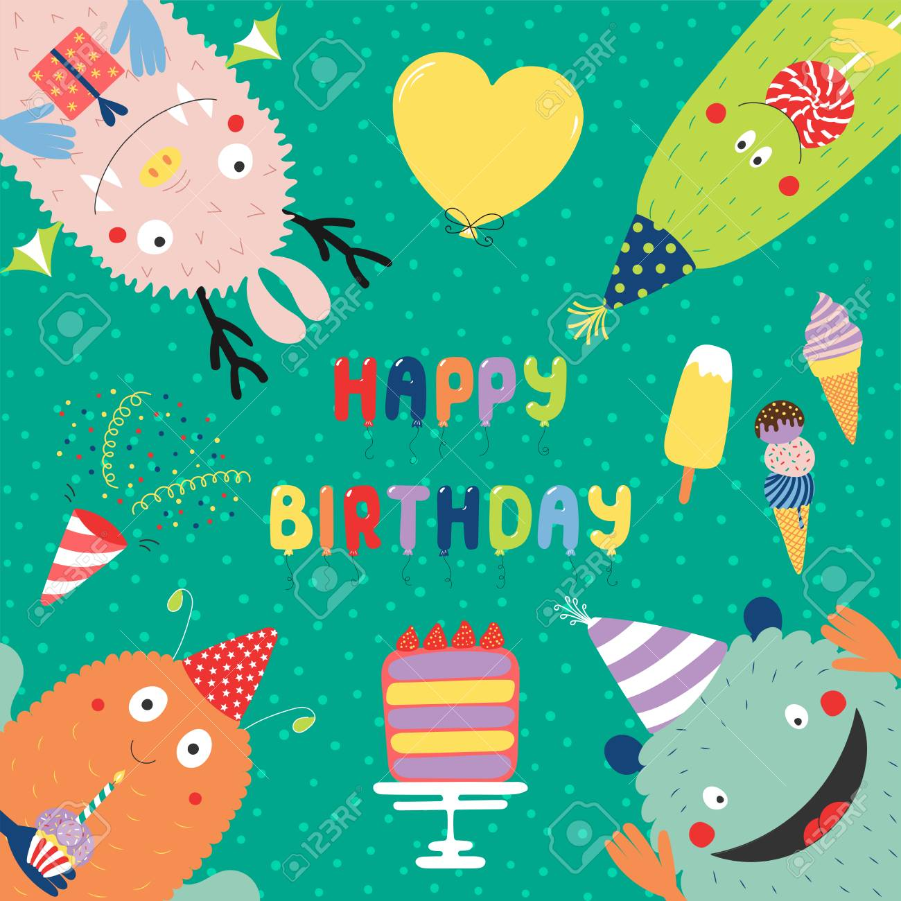 Hand Drawn Birthday Card With Cute Funny Monsters In Party Hats Looking From All Sides