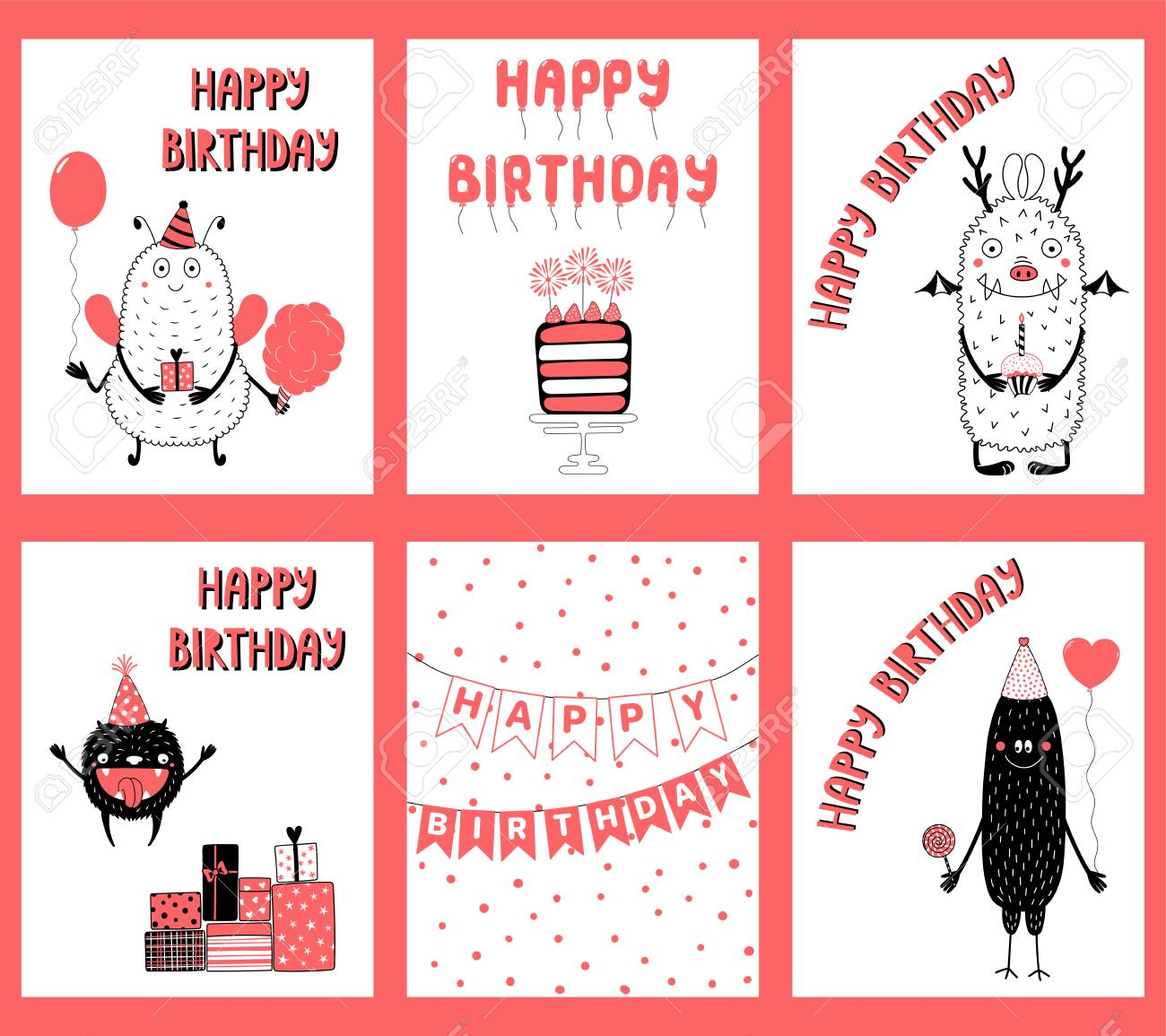 Set Of Hand Drawn Birthday Cards Gift Tags Templates With Cute Funny Cartoon Monsters In
