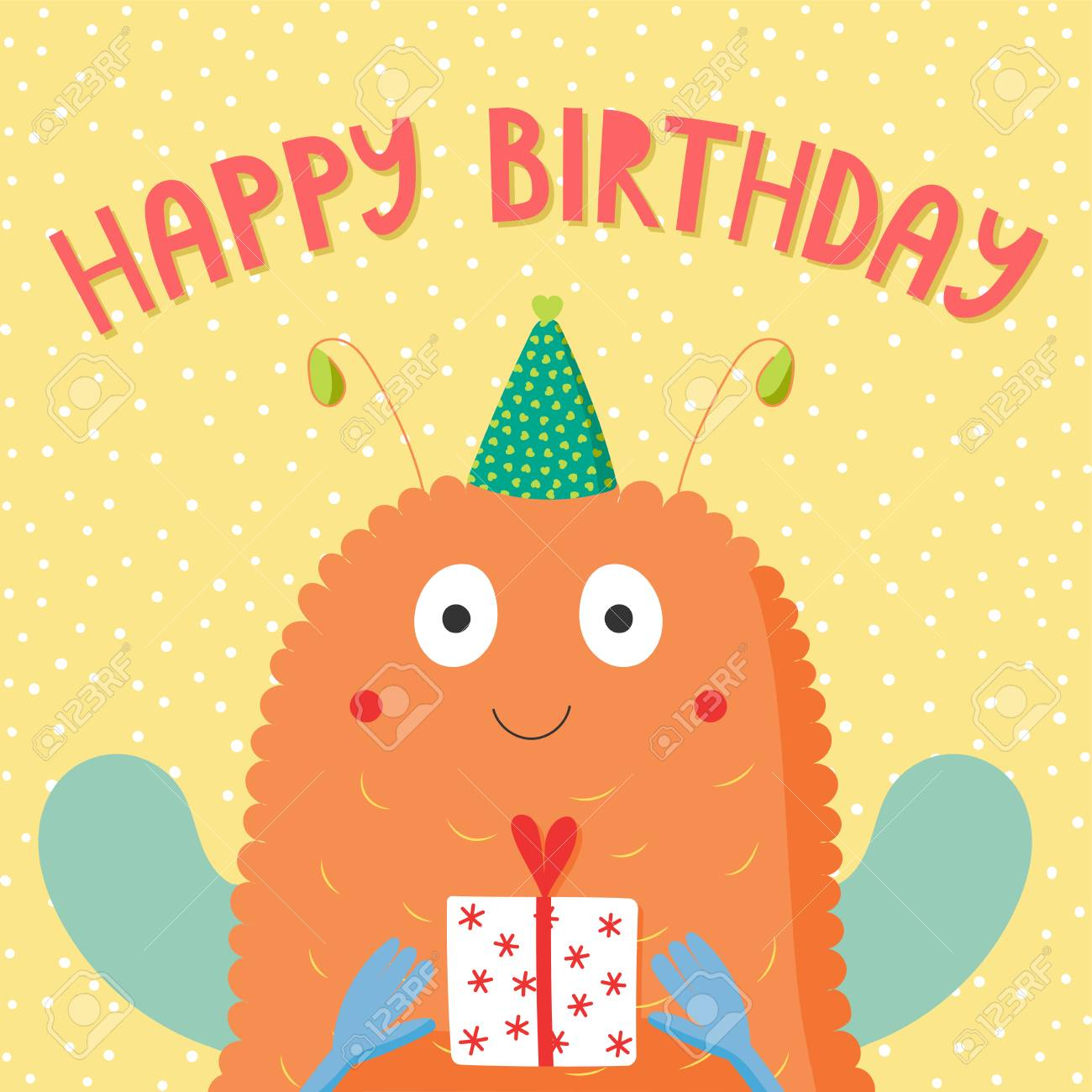 Hand Drawn Birthday Card With Cute Funny Monster In A Party Hat Holding Present