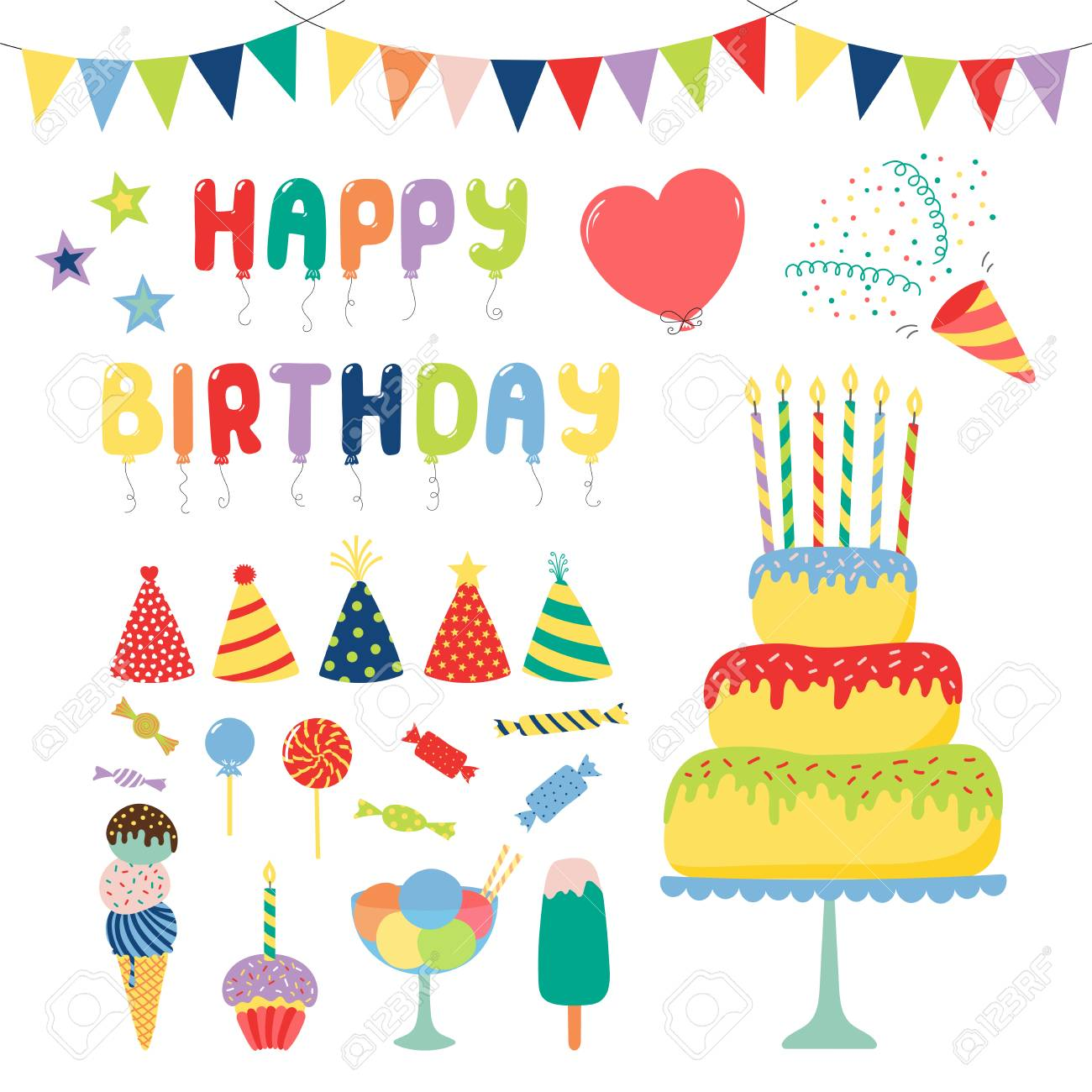 Collection Of Hand Drawn Birthday Party Design Elements With