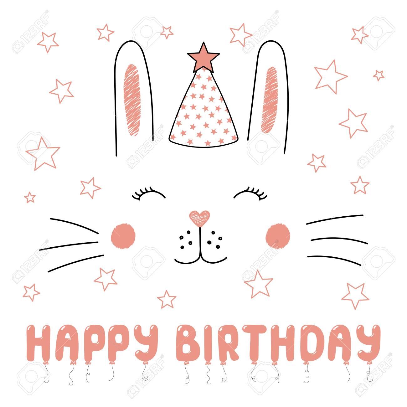 パーティー帽子にかわいい面白いウサギの手描きベクトルポートレート テキストハッピーバースデー 白い背景に分離されたオブジェクト ベクトルイラスト 子供 パーティー お祝い カードのためのデザインコンセプト のイラスト素材 ベクタ Image