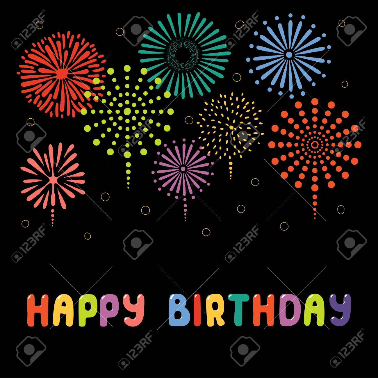 Hand Drawn Happy Birthday Greeting Card Banner Template With Typography Fireworks Isolated Objects