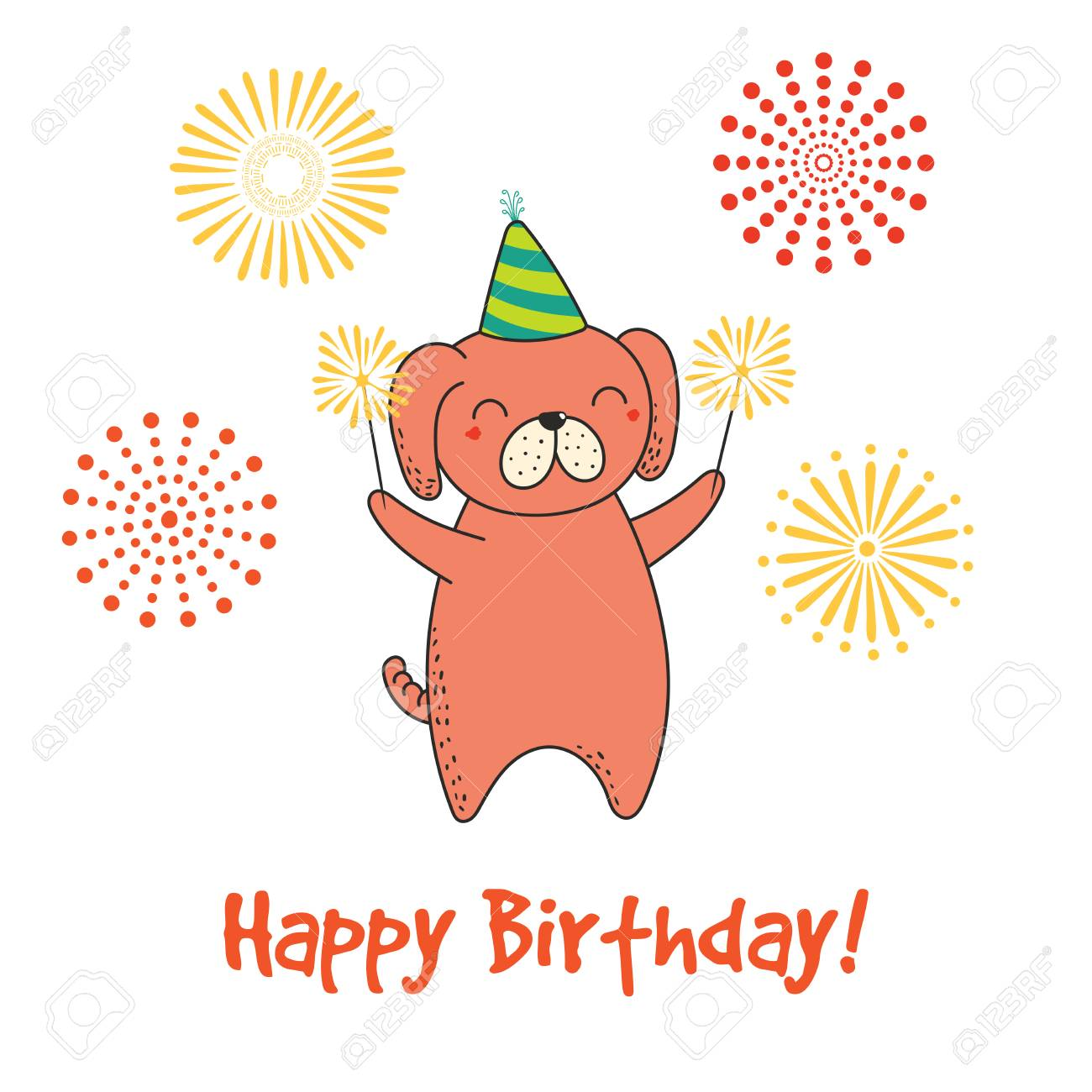 Hand drawn happy birthday greeting card with cute funny cartoon hand drawn happy birthday greeting card with cute funny cartoon dog with sparklers text m4hsunfo