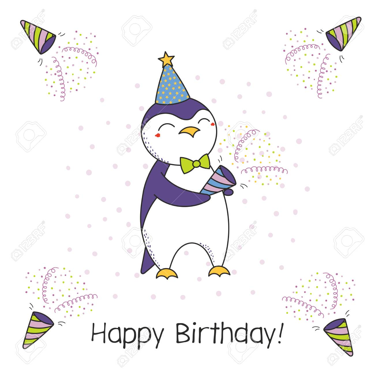 Hand Drawn Happy Birthday Greeting Card With Cute Funny Cartoon Penguin A Party Popper