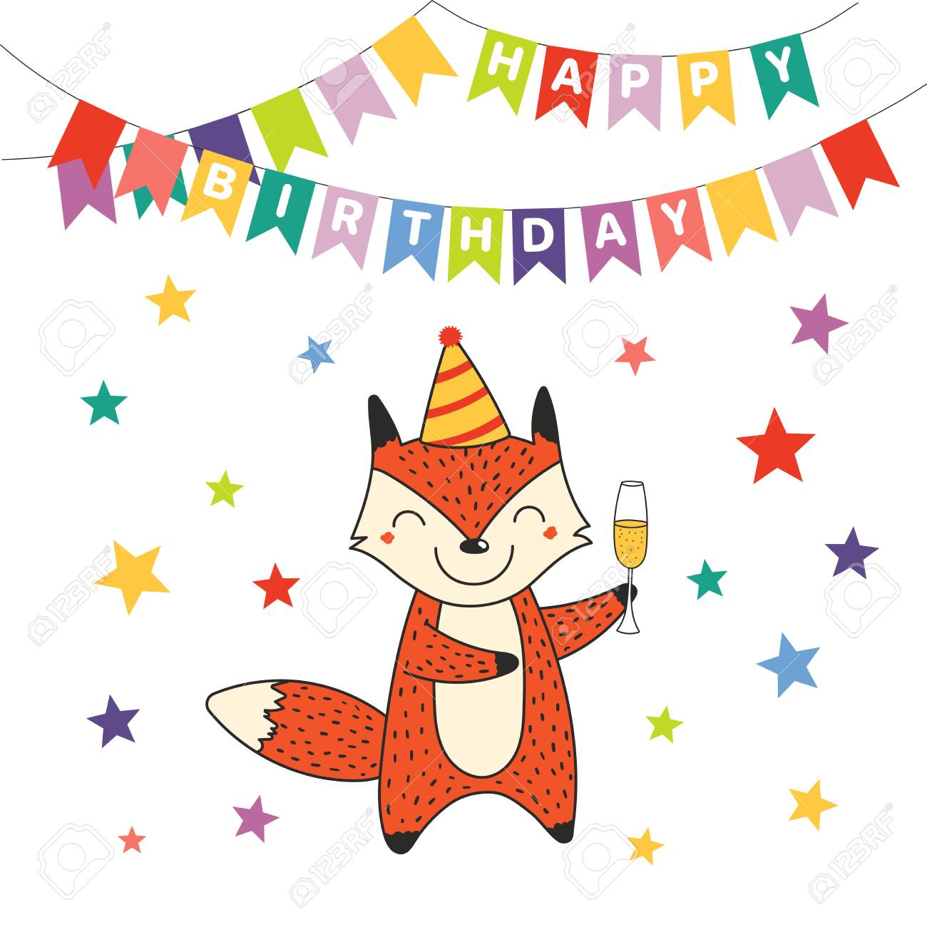 Hand Drawn Happy Birthday Greeting Card With Cute Funny Cartoon Fox A Glass Of Champagne