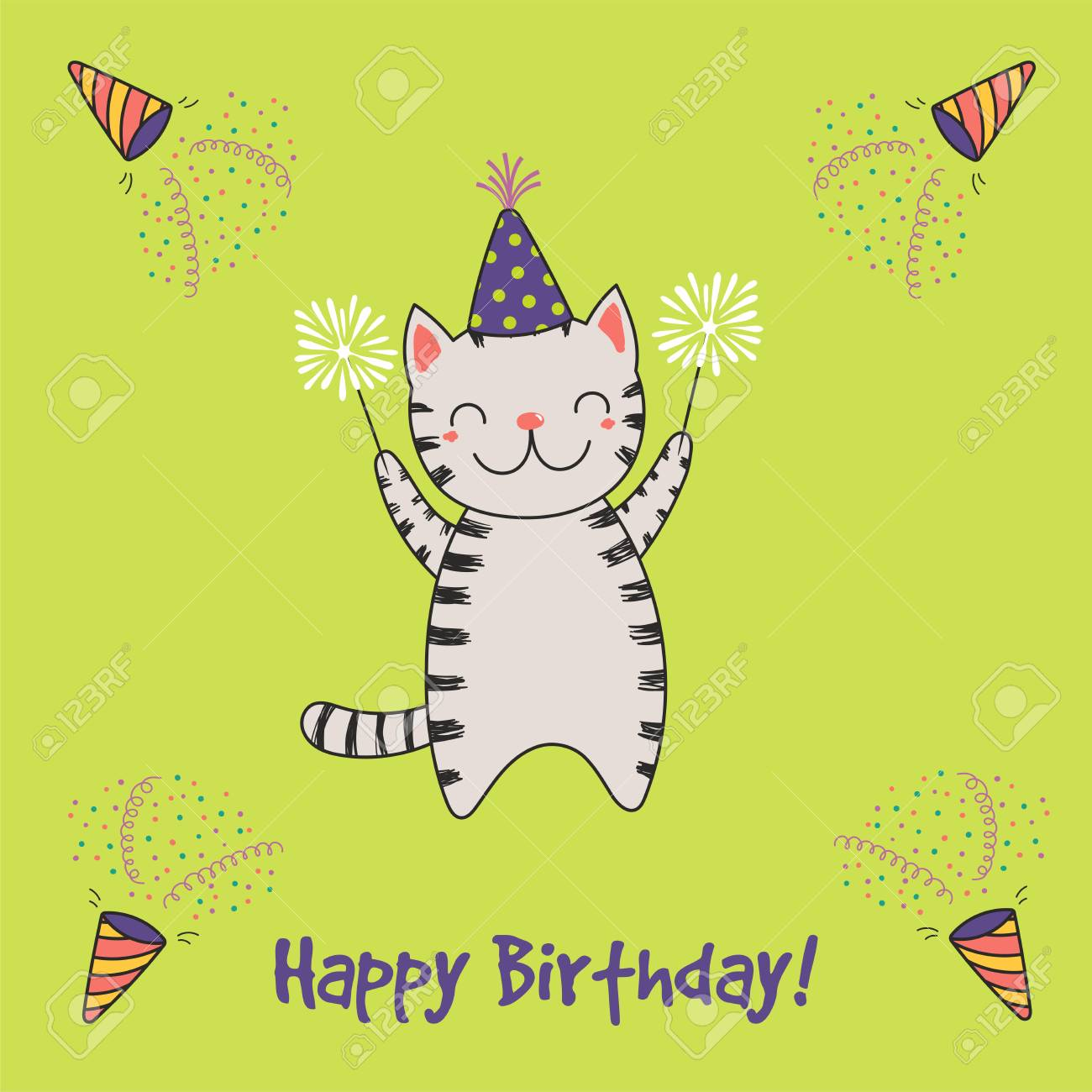 Hand Drawn Happy Birthday Greeting Card With Cute Funny Cartoon Cat Sparklers Text