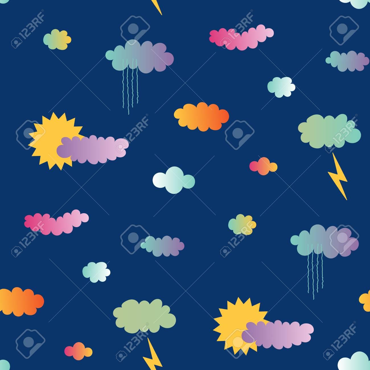 青い背景に 太陽と雨 雲 稲妻と手描きのシームレスなベクトル