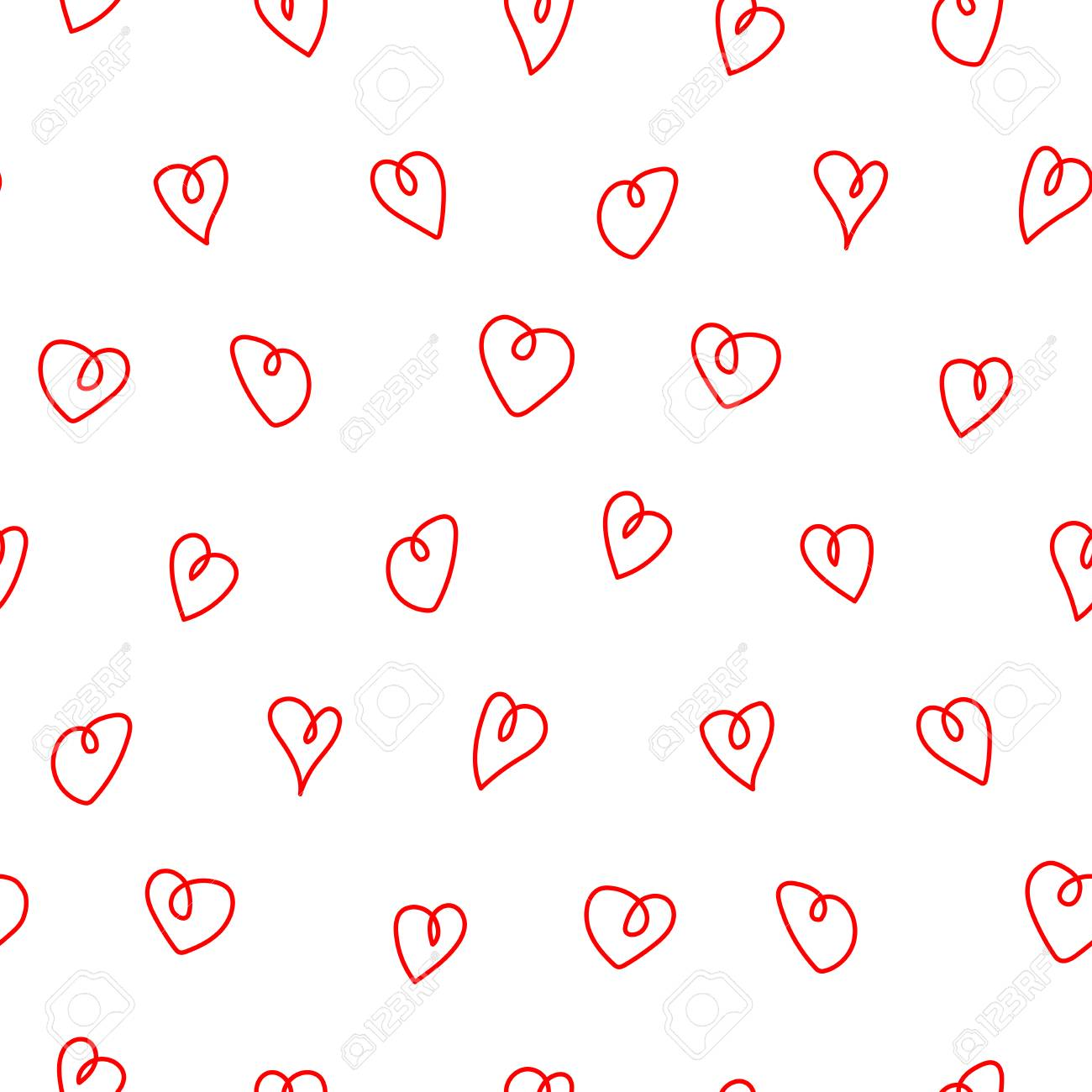 Hand Drawn Seamless Vector Pattern With Red Hearts Doodles On Royalty Free Cliparts Vectors And Stock Illustration Image 94844393