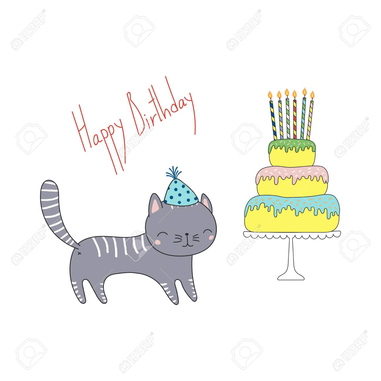 Hand Drawn Happy Birthday Greeting Card With Cute Funny Cartoon Cat In A Party Hat Cake On Stand Text Isolated Objects White Background